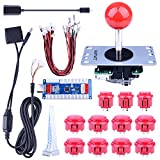 Quimat Arcade Game Button and Joysticks Controller DIY Kit Supports Rapsberry Pi, Windows, XBOX, PS3, PS2, Android, Tablet, Mobile Phone and TV Box, 4/8 Way Joystick and 11 Red Push Buttons
