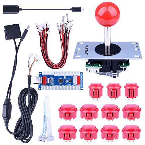 Quimat Arcade Game Button Joysticks Controller DIY Kit Supports Rapsberry Pi, Windows, PS3, PS2, Android, Tablet, Mobile Phone TV Box, 4/8 Way Joystick 11 Red Push Buttons (QR07)