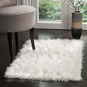 Safavieh FSS235A-3 Faux Sheep Skin Collection Handmade Ivory Area Rug, 3x5-Feet