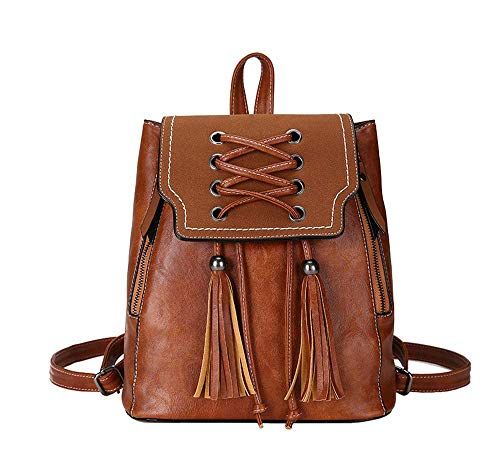 Fashion Solid Tassels Lace - Ebggorgkjo Retro PU Leather Lace Satchel Girl Trendy Tassel Backpack Loose Wild Daypacks Fashion Solid Color Backpack Smaller (Color : Braun, Size : -)