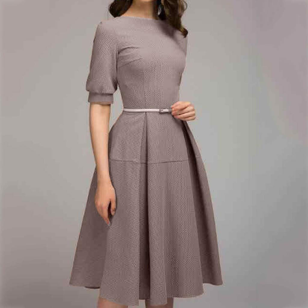 Womens Half Sleeve Solid Casual Vintage Work Office A Line Knee Length Dress at Amazon Womens Clothing store: