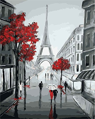 DoMyArt Paint By Number Kits For Adults - Eiffel 16X20 Inch (Eiffel In The Rain)