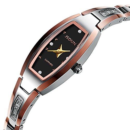 Oval Watch Face - JSDUN Women Lady Elegant Slim Bracelet Square Oval Faces Diamond Dress Waterproof Mechanical Automatic Wrist Watches, Silver/Rose Gold/Gold Tungsten Steel Tone
