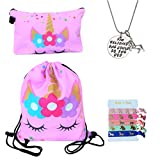 Unicorn Gifts for Girls - Unicorn Drawstring Backpack/Makeup Bag/Inspirational Necklace/Hair Ties (Pink Star Unicorn)