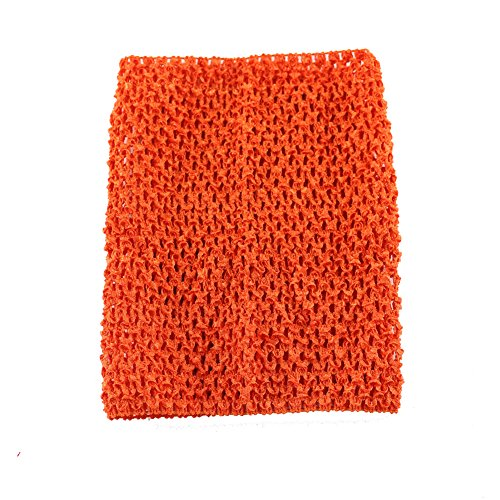 Wennikids Large Crochet Tutu Tops Girls Baby Tube Top Match Tutu Skirt Pettiskirt (Orange Tutu With Headband)