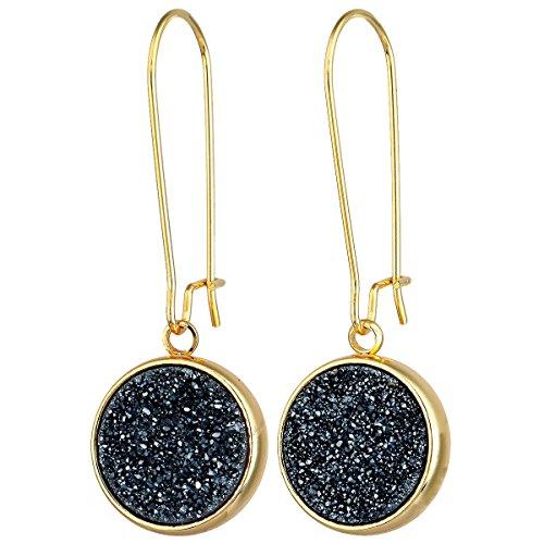 SUNYIK Round Natural Crystal Druzy Kidney Hook Dangle Earrings for Women, Black