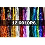 12 Packs Flashabou Tinsel Holographic Flat Mylar Crystal Flash Fly Tying Materials