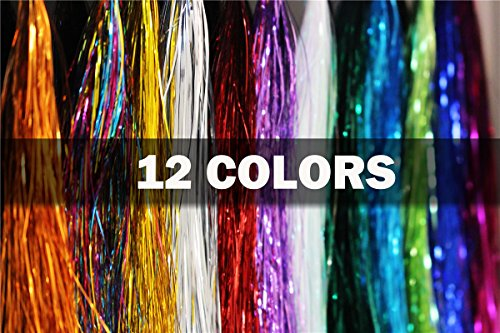 Mylar Tinsel - 12 Colors 0.3mm Flashabou Tinsel Flat Mylar Crystal Flash Trout Tube Fly Fishing Tying Materials