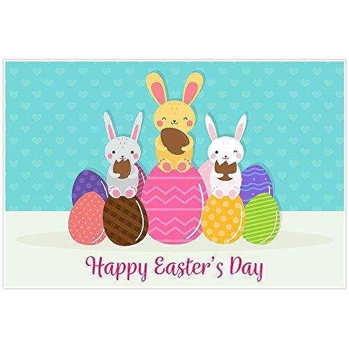 Happy Easter's Day Bunnies Poster Wall Art Decor -