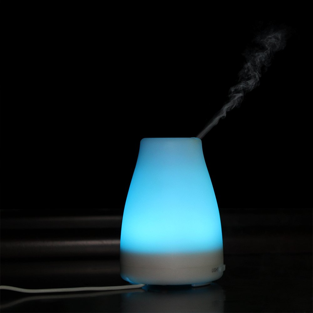 YIMEI HOUSEHOLD 120ml Essential Oil Diffuser Aroma Cool Mist Humidifier , Adjustable Mist Mode,Waterless Auto Shut-off and 7 Color LED Lights Changing for Home Office Baby (Ordinary paragraph, 120ml)