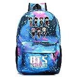 JUSTGOGO Korean Casual Backpack Daypack Laptop Bag College Bag Book Bag School Bag (Blue 4)