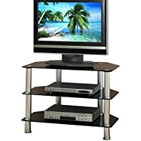 Poundex Modern TV Media Console Stand, Shiny Metal Glass 3 Shelves, Black