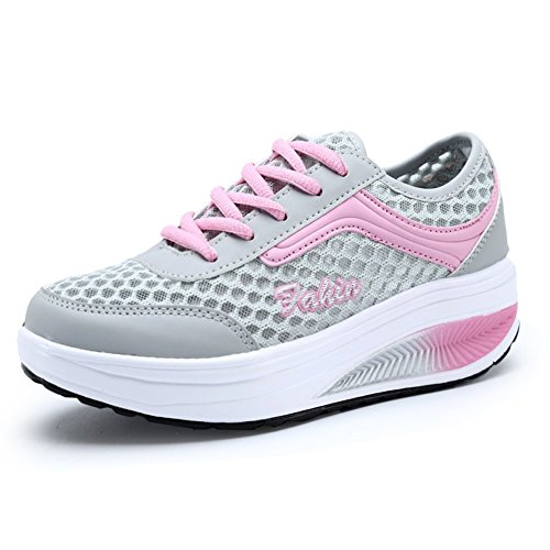 Kagains Women's Light Weight Mesh Lace Up Platform Sneakers Fitness Work Out Shoes Pink 5 B(M) US