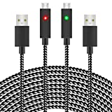 Xbox Controller Charging Cable,2 Pack 10FT Nylon Braided Micro USB Charge and Play Data Sync Cord with LED light for Xbox One S/X Elite Controller,Playstation 4,PS4 Slim/Pro Controller,Samsung,Android