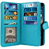 NEXTKIN LG Stylo 3 Stylus 3 Case, Leather Dual Wallet TPU Cover, 2 Large Pockets Double flap, 9 Card Slots Snap Button Strap For LG Stylo 3 Stylus 3 LS777/ Stylo 3 Plus TP450 MP450 5.7 inch - New Teal