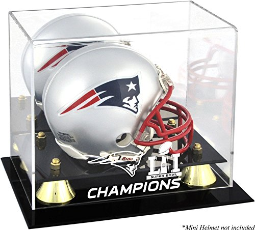 New England Patriots Super Bowl LI Champions Golden Classic Mini Helmet Logo Display Case - Fanatics Authentic Certified