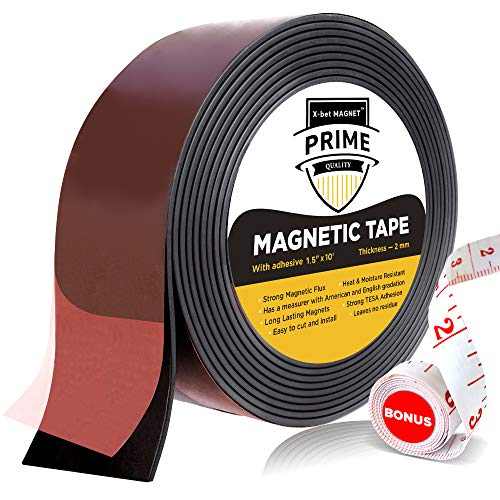 Flexible Magnetic Tape - Wide 1.5 Inch x 10 Feet Magnetic Strip with Strong Self Adhesive - Premium Magnetic Roll for DIY and Craft Projects - Sticky Magnets for Refrigerator and Dry Erase Board by X-bet MAGNET