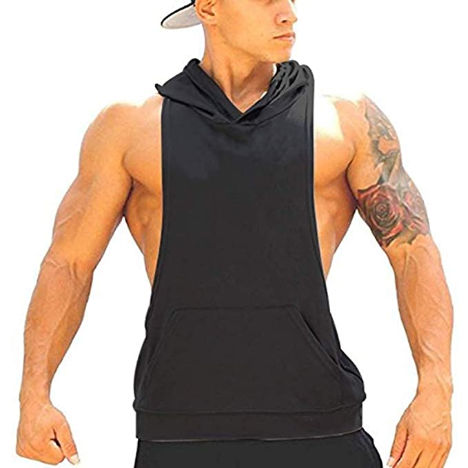 8326eb15 Q&Y Men's Muscle Cut Bodybuilding Stringer Hoodie Gym Tank Top Racerback  Hoodie Tee Black M