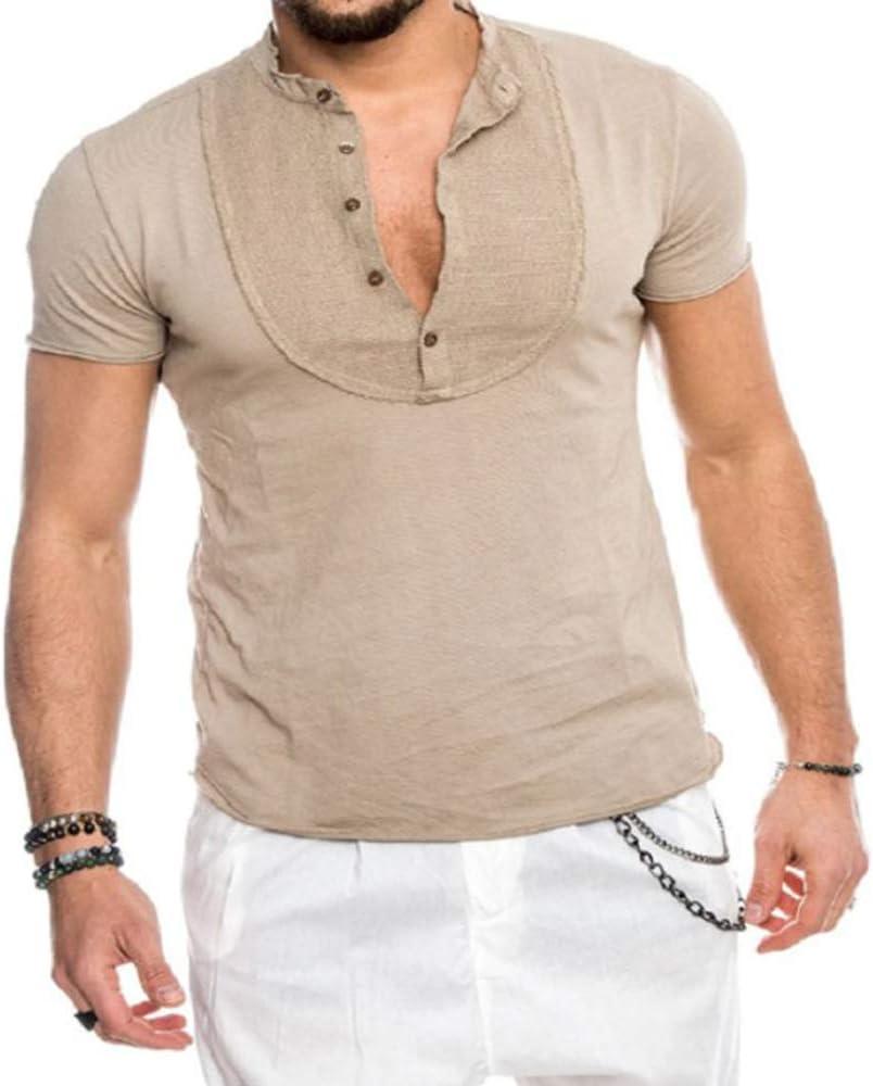 Camisetas de Henley de Lino y algodón para Hombres Cuello Alto de Color Liso para Hombre Camisetas de Manga Corta Ajustadas: Amazon.es: Ropa y accesorios