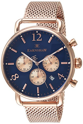 Thomas Earnshaw Men's 'INVESTIGATOR' Quartz Stainless Steel Dress Watch, Color:Rose Gold-Toned (Model: ES-8001-55)