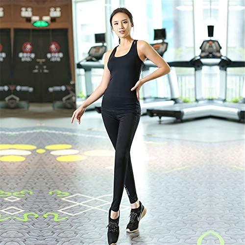 レディースジャージ上下セット 女性スポーツのためのランニングとアクティブウェアのズボンのヨガ服セット (Color : Black, Size : S)