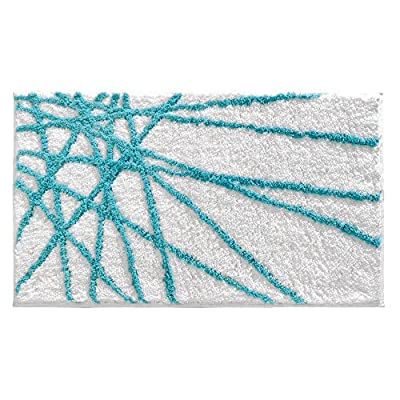 "InterDesign Abstract Microfiber Bath Mat, Shower Rug for Master, Guest, Kids' Bathroom, Entryway, 34"" x 21"", Aqua Blue and White - HIGH-QUALITY FABRIC: Made of 100% microfiber polyester, this non-slip aqua blue shower rug adds comfort and chic style to your master bathroom, kitchen, kids' bathroom, guest bathroom, office, craft room, and other places in your home STURDY: Stays in place throughout the day with a non-skid, no-slip backing for your convenience EASY MAINTENANCE: Machine washable and hangs dry for easy cleaning - bathroom-linens, bathroom, bath-mats - 51pUtR7zxLL. SS400  -"