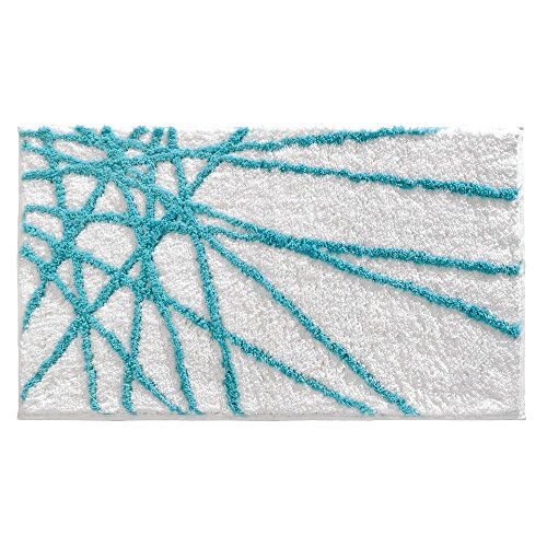Dynamic Rugs Acrylic Rug - InterDesign Microfiber Abstract Bathroom Shower Accent Rug, 34 x 21, Aqua/White