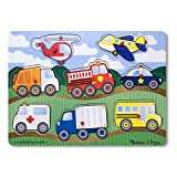 "Melissa & Doug Vehicles Wooden Peg Puzzle, Colorful Vehicles Artwork, Extra-Thick Wooden Construction, 8 Pieces, 15.5"" H x 11.2"" W x 1.6"" L"