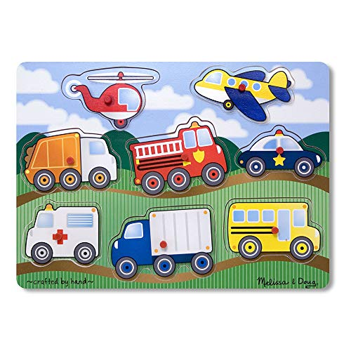 "Melissa & Doug Vehicles Wooden Peg Puzzle (Colorful Vehicles Artwork, Extra-Thick Wooden Construction, 8 Pieces, 15.5"" H x 11.2"" W x 1.6"" L)"