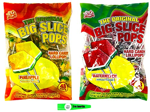 Big Slice Lollipops Pineapple and Watermelon Hard Candy Lollipops 48 Pops Per Flavor (96 Pops Total) with Tru Inertia Kazoo -