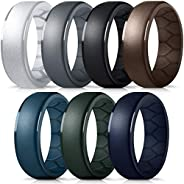 Forthee Silicone Wedding Ring for Men, Breathable Airflow Inner Curve, Mens' Rubber Wedding Engagement Ban