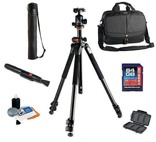 Vanguard Alta Pro 263AB 100 Tripod W/ SBH 100 Ballhead + Vanguard 2GO 33 Bag ( COLOR MAY VARY) + Vanguard Tripod Case, 64GB SDXC Card, Cleaning Kit, Lens Pen, Memory Card Wallet by Vanguard