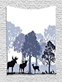 THndjsh Moose Wall Hanging Tapestry, Gray Forest Design Abstract Woods North American Wild Animals Deer Hare Elk Trees, Bedroom Living Room Dorm Decor, 40 W x 60 L inches, Lilac Cadet Blue Black
