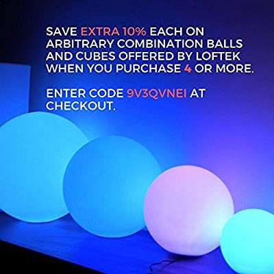 LOFTEK LED Light Ball : 8-inch Cordless Floating Pool Ball with Remote Control, Rechargeable Color Changing Glowing Decor Orb