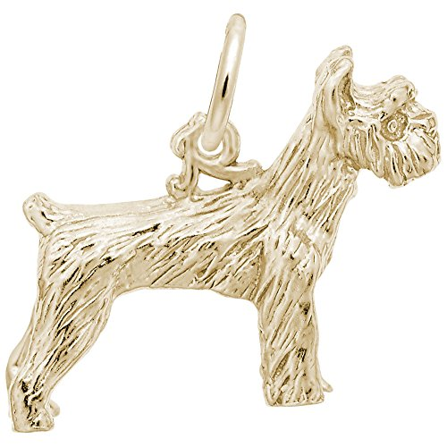 10k Yellow Gold Schnauzer Dog Charm, Charms for Bracelets and Necklaces