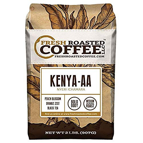 Fresh Roasted Coffee LLC, Kenya AA Nyeri Ichamara Coffee, Medium-Dark Roast, Whole Bean, 2 Pound Bag