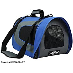 EliteField Airline Approved Soft Pet Carrier with Plush Bed for Dog and Cat, 20 L x 11 W x 11 H Inch, Royal Blue/Gray
