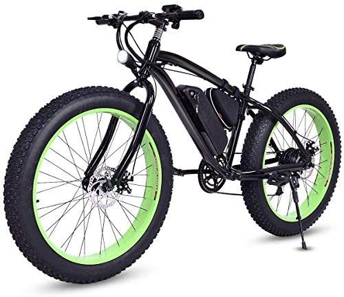 Goplus 26'' Electric Bike E-Bike Mountain Beach Snow Bicycle Fat Tire Bike Speed Up to 12.5MPH with 3 Riding Modes, Removable 36V Lithium Battery (Black)