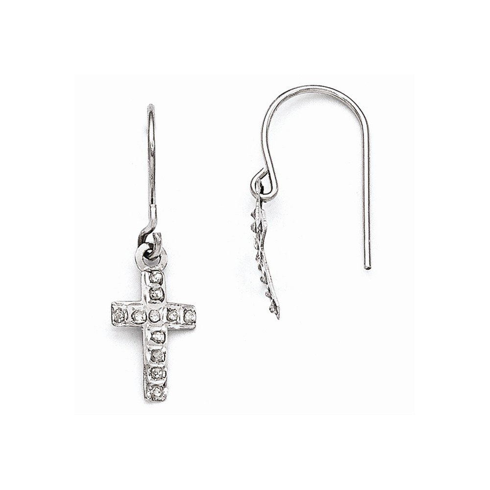 Diamond Fascination 14k White Gold Diamond Fascination Cross Earrings