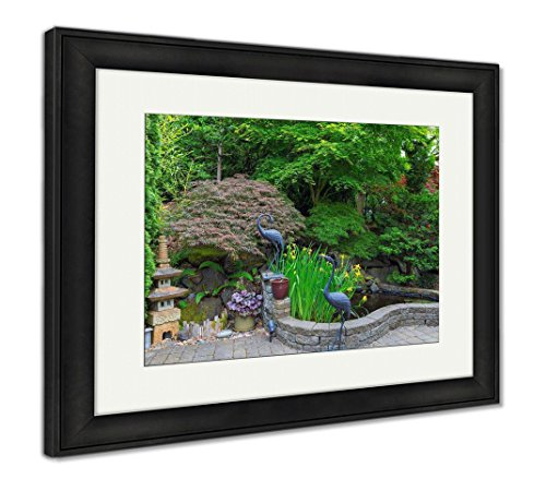 Ashley Framed Prints Home Garden Backyard With Lush Plants Japanese Landscaping Pond Stone Pagoda, Modern Room Accent Piece, Color, 34x40 (frame size), Black Frame, (Pagoda Garden Accent)