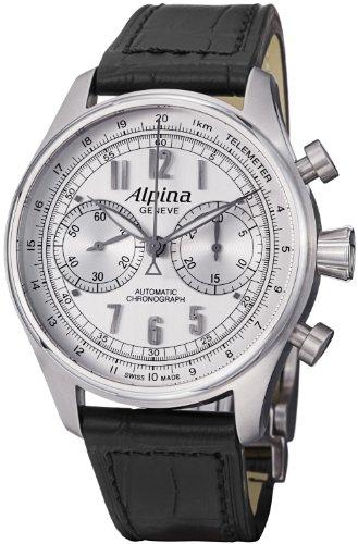 Alpina AL-860SCP4S6 Aviation Startimer Classic Chronograph Men's Black Leather Strap Watch