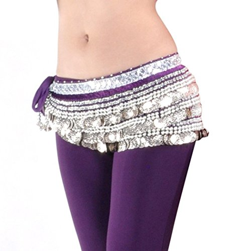 [Women Belly Dance Dancing Hip Scarf Wrap Costumes Silver 338 Coins Belt Chiffon Skirt Purple] (Scarf Coin Belly Dance Costumes)