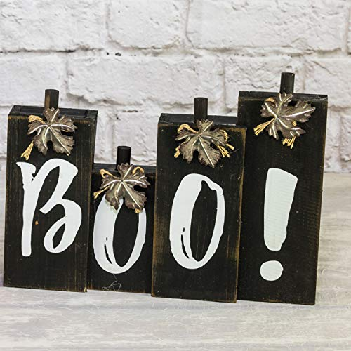 One Holiday Way Orange or Black Halloween Standing Boo Sign with Leaf Accents - Tabletop Fall Decoration (Black) ()