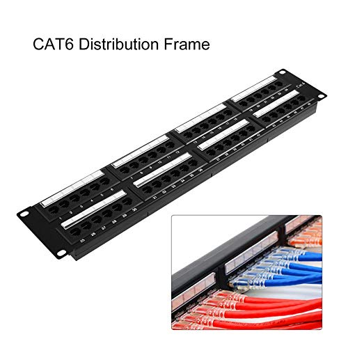 BusinessCAcastle CAT 6 Ethernet LAN Adapter Unshielded Connector Cable with 48 Ports Mount Bracket Patch Panel Network Distribution Frame