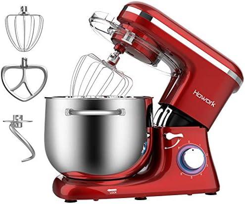 Capacità 8 liter Impastatrice Howork, 1500W Planetaria Robot da cucina per pane, pizza, dolci e pasticceria, 6 velocità con ciotola in acciaio inossidabile (8 liter, rosso)