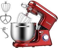 HOWORK Robot Pâtissier 1500W, Bol 8L 6 Vitesses Robot pétrin multifonction, Batteur, Fouet, Crochet, Robot de cuisine