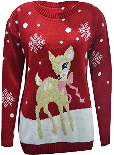 3b0b6ae28cdc NEW WOMEN LADIES SINGLE BABY REINDEER CHRISTMAS JUMPER LONG SLEEVE ...