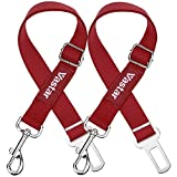 Vastar 2 Piece Adjustable Pet Dog Cat Car Seat Belt Safety Leads Vehicle Seatbelt Harness, Made from Nylon Fabric, Red