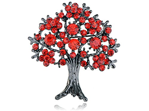 Alilang Gun Metal Tone Orange Red Rhinestones Apple Fruit Floral Tree Brooch Pin
