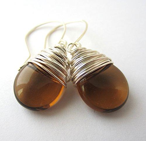 Brown Drop Earrings Czech Glass Earrings Wire Wrapped Silver Tone Wire -